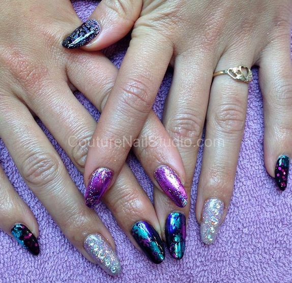 black-purple-silver-nails
