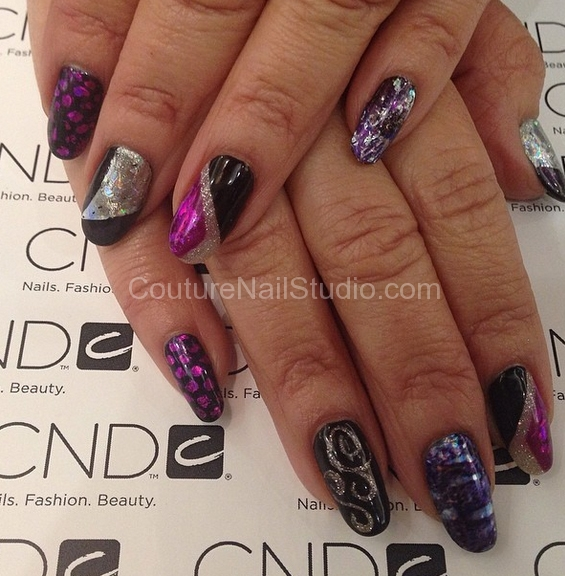 cnd-nail-art-purple-black-silver